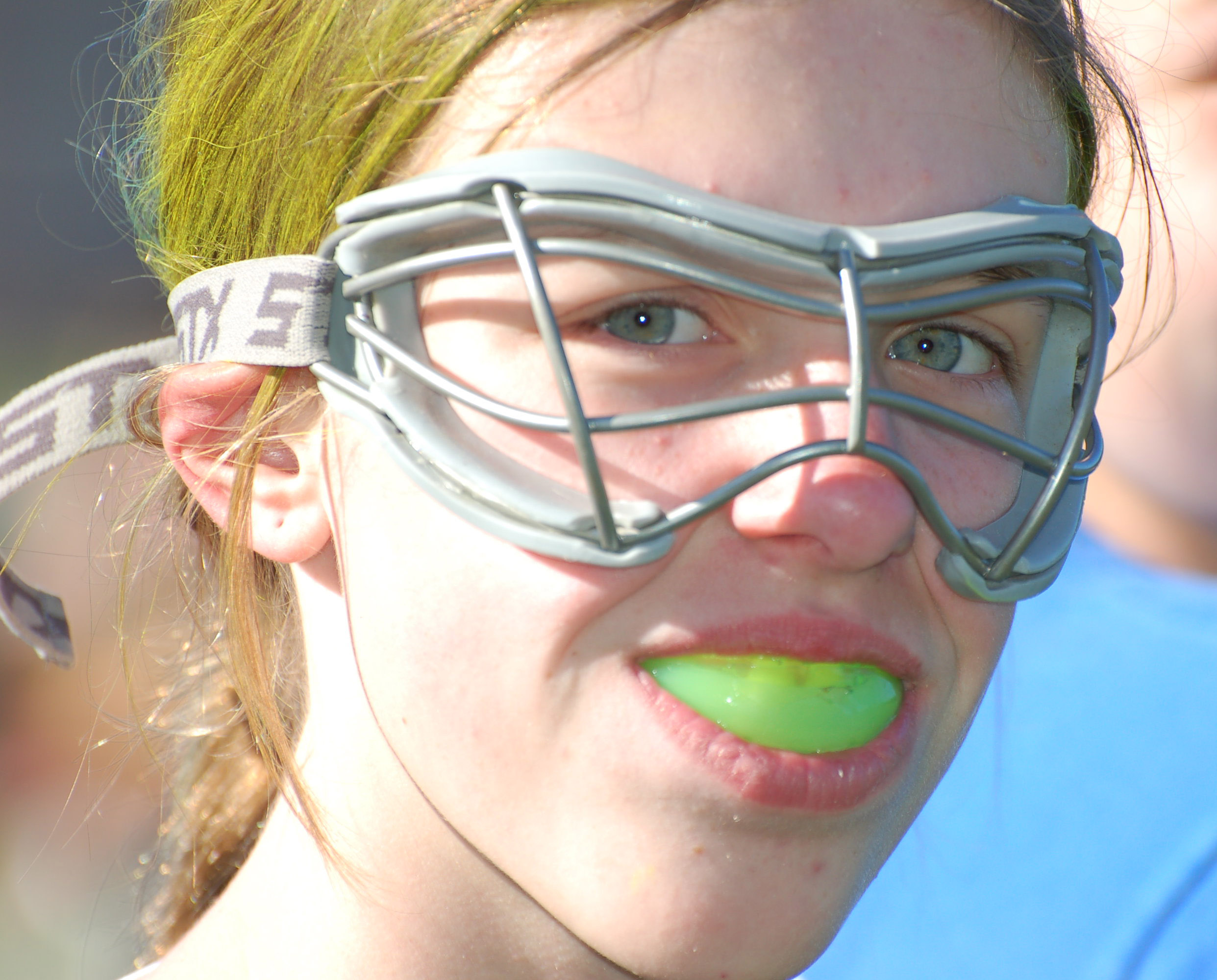 Player with Eye Mask and Mouth Guard