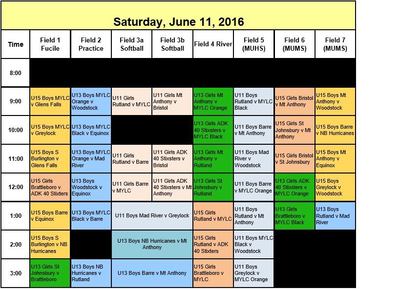 GMSO 2016 Saturday schedule