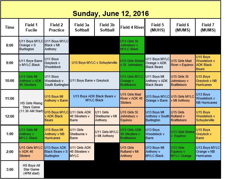 GMSO 2016 Sunday schedule