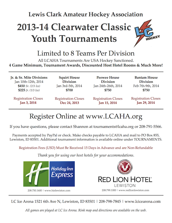 Online registration is now open for LC Hockey Clearwater Classic Youth Tournaments!
