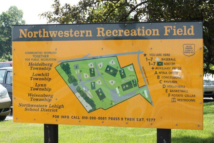 Northwestern Rec Field Sign Map of Fields
