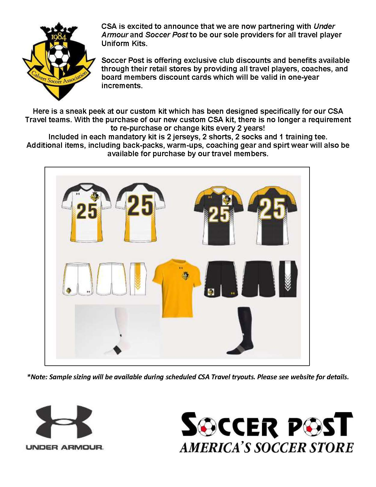 CSA and Under Armour announce uniform partnership with Soccer Post