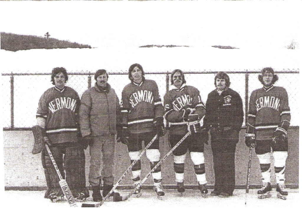 Hamden's Mark Wimmer (extreme left) and Kevin Sutfin (extreme right) at Vermont Academy in 1976