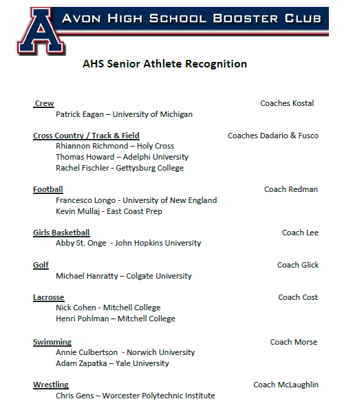 2020 AHS Senior Athlete Recognition