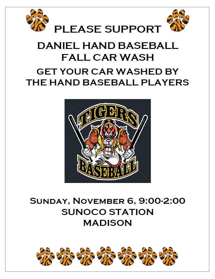 DHHS Baseball Car Wash Fundraiser, Nov 6th, 9a-2p, Sunoco, Madison