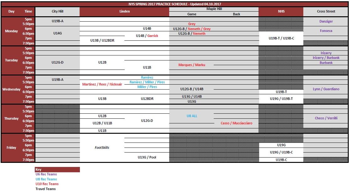 NYS Spring 2017 Practice Schedule