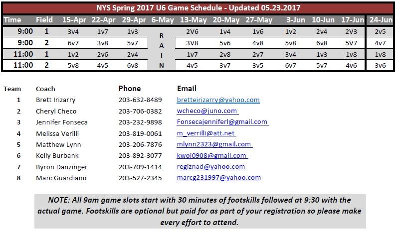 NYS Spring 2017 U6 Game Schedule
