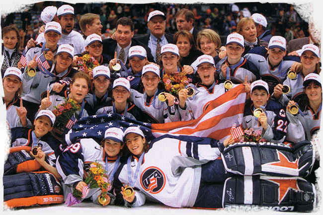 Team USA celebrate Olympic Gold at the 1998 Winter Games in Nagano, Japan