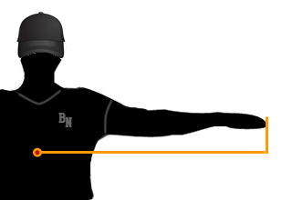 Bat sizing by measuring from the center of the body to finger tip