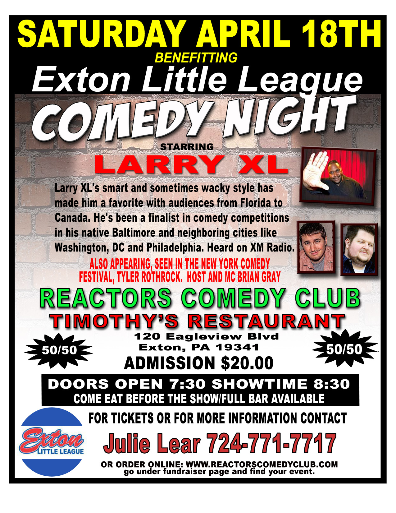 Exton Little League Comedy Night Flyer