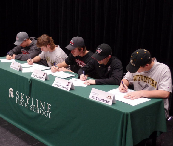 Four Skyline Varsity Lacrosse Seniors make their college lacrosse playing decisions official on National Signing Day
