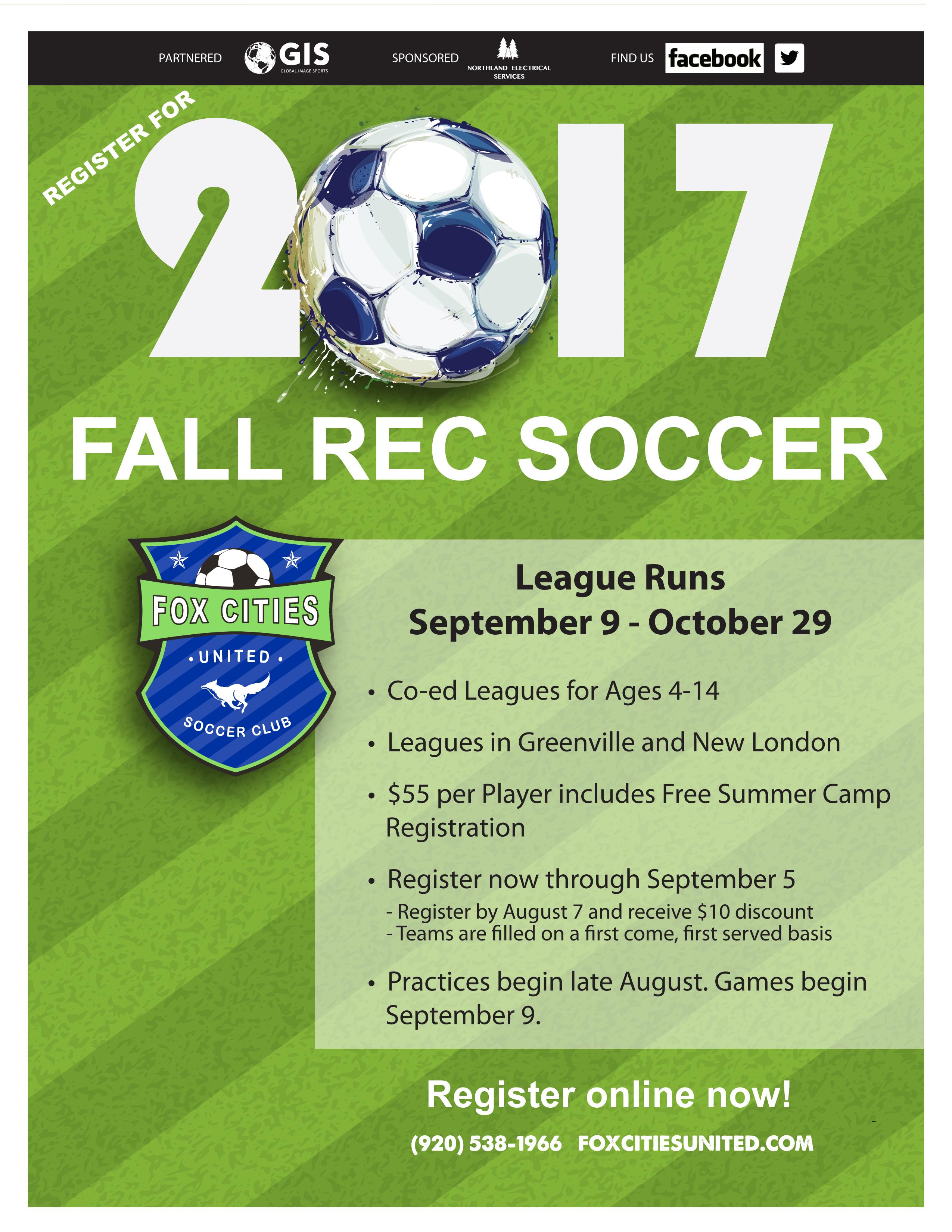 Fall Rec Soccer Greenville WI