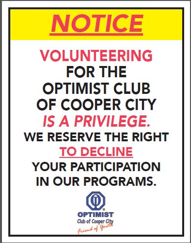 Volunteering for the Cooper City Optimist is a Privilege