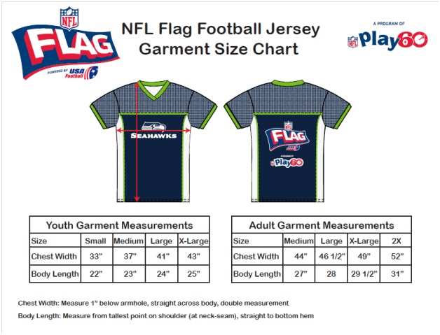 NFL Flag Shirt Sizes
