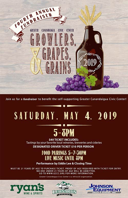 Growlers, Grapes and Grains   May 4th  2019,   5 - 8PM