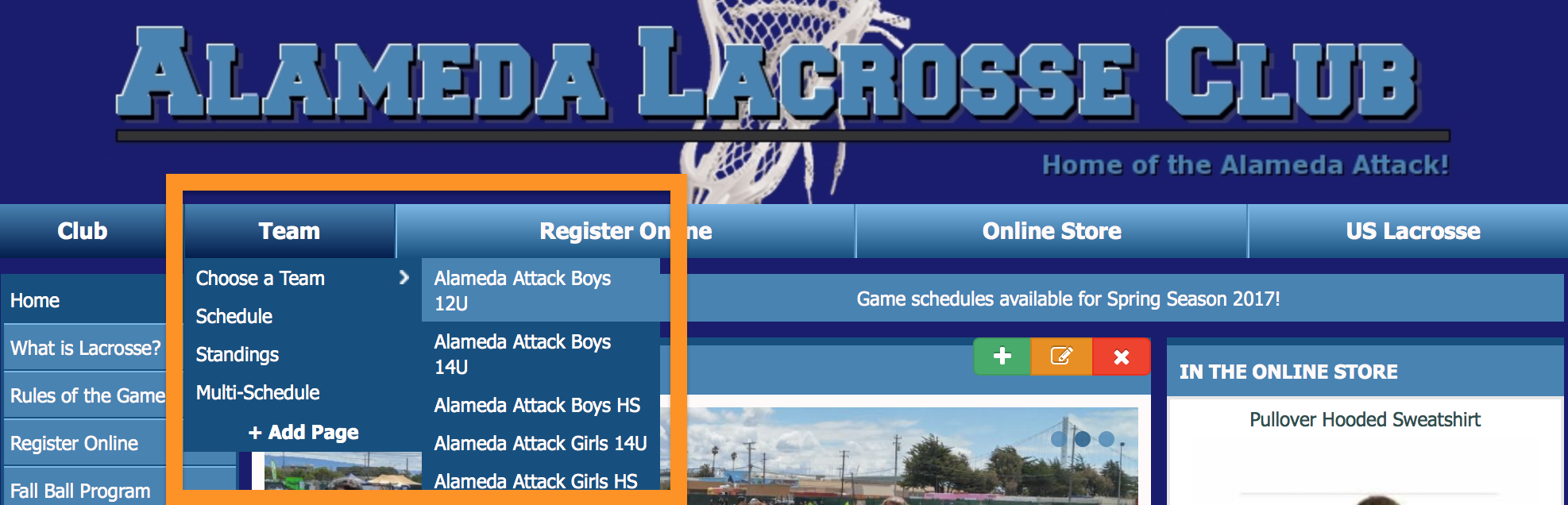 Locate team pages under the Alameda Lacrosse logo
