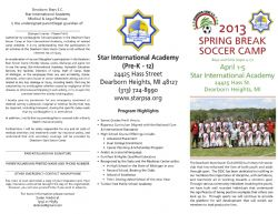 DEARBORN STARS 2013 SPRING BREAK CAMP