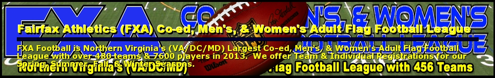 Fairfax Athletics (FXA) Co-ed, Men's, & Women's Adult Flag Football League, Football, Touchdown, Field