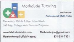 Mathdude Tutoring, 631-334-7351