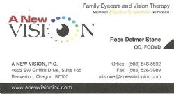 Rose Detmer Stone, OD FCOVD, A New Vision