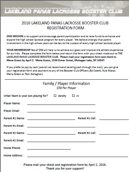 Registration Form  Lakeland Panas Lacrosse Booster Club