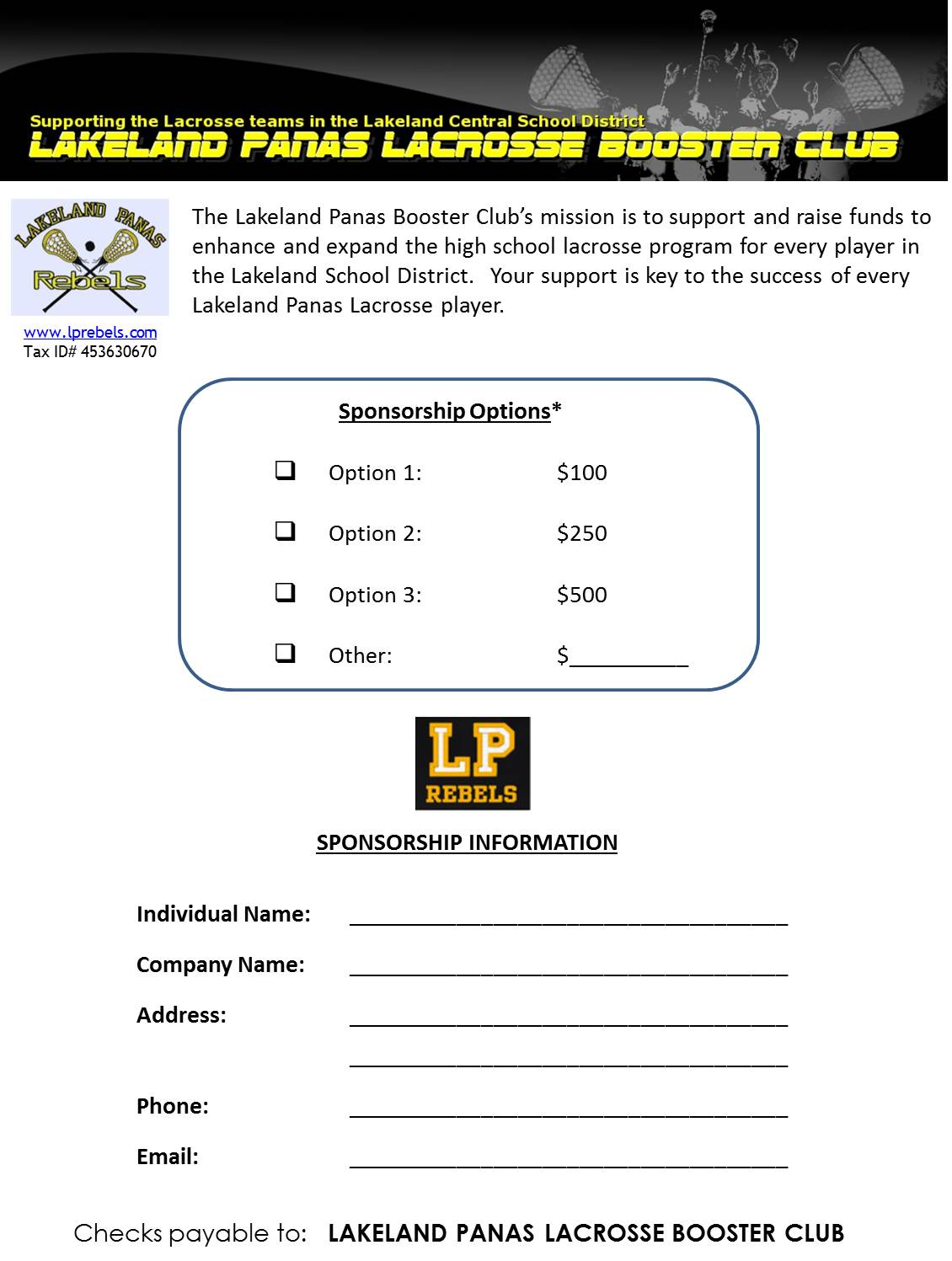 Sponsorship form lakeland panas lacrosse booster club thecheapjerseys Images