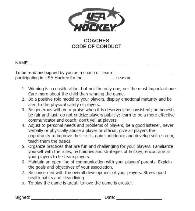 Code Of Conduct | Starhawks Youth Hockey Association