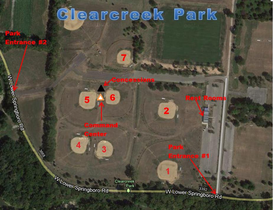 Springboro Ohio Map.Clearcreek Park Map Springboro Select Baseball