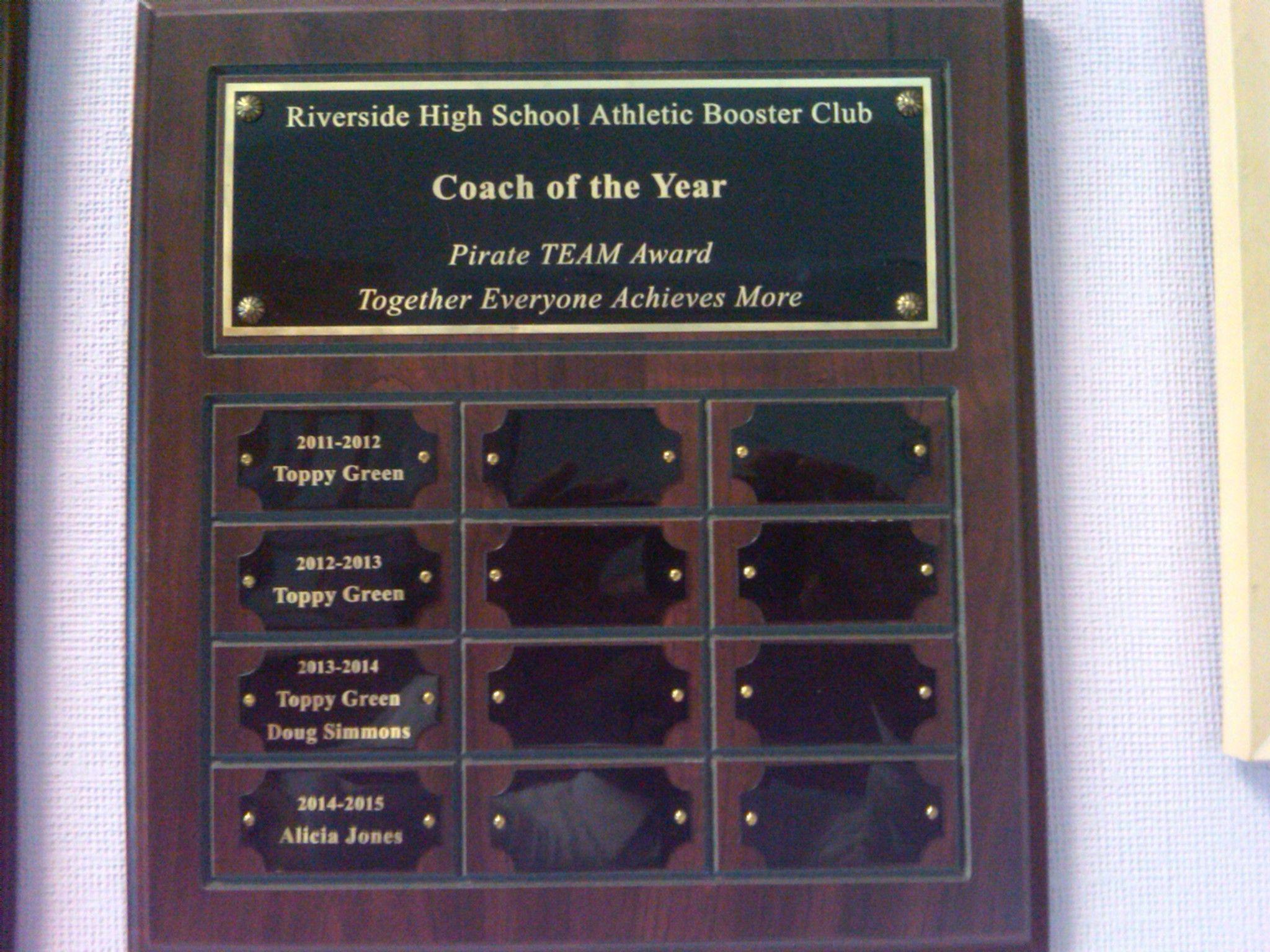 coach of year award riverside high school booster club