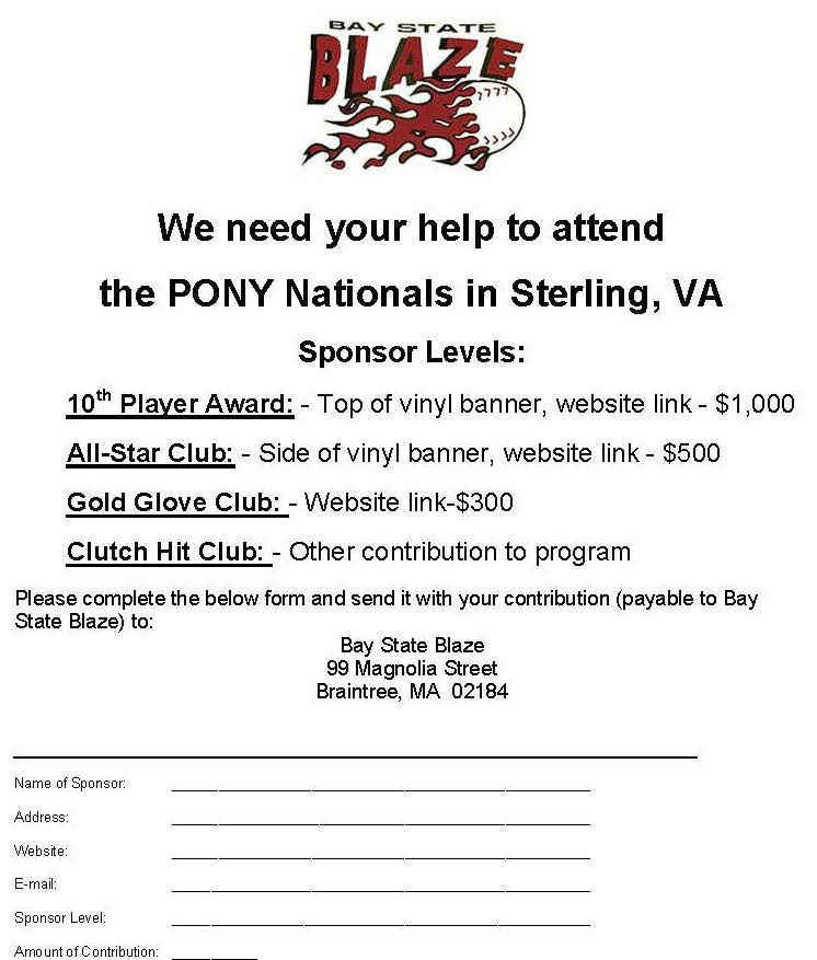 Sponsorship Form  Bay State Blaze
