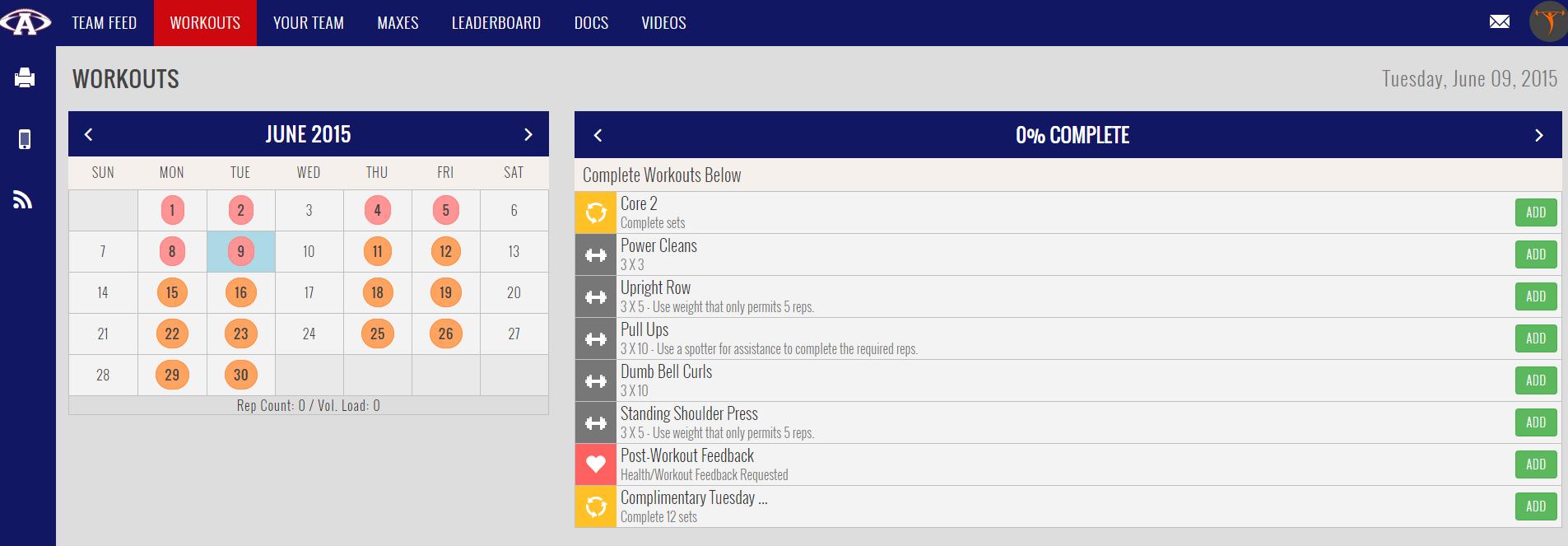 Teambuildr (Workout Tracking) | Avon (CT) High School Football