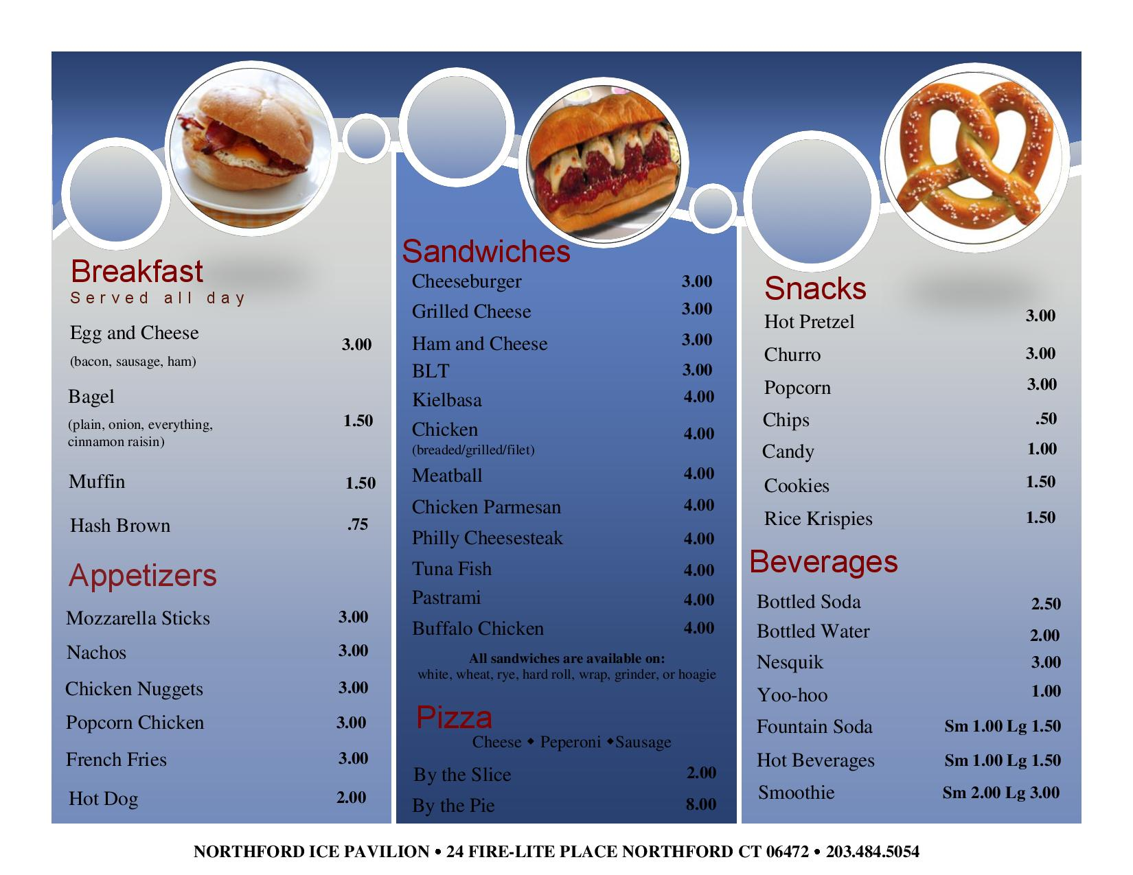 Snack bar northford ice pavilion for Snack bar menu