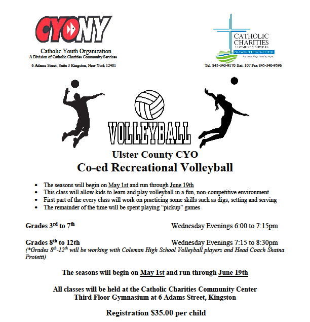Co Ed Volleyball Cyo Ulster County