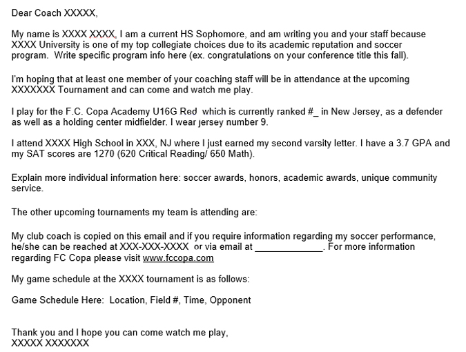 College Email Template Futbol Club Copa Academy