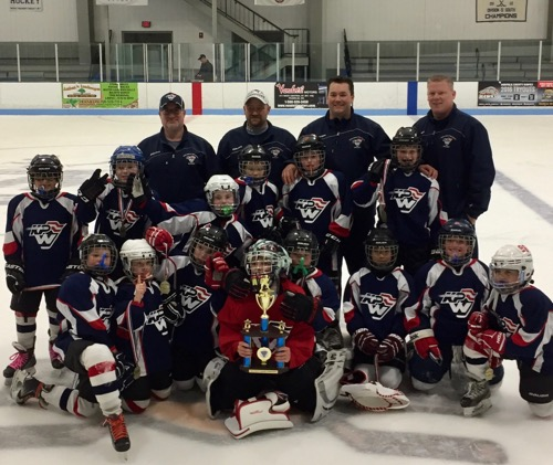 The King Philip Walpole Youth Hockey Squirt B2 Red team won the squirt championship at the 2016 Dusty Lardin Tournament