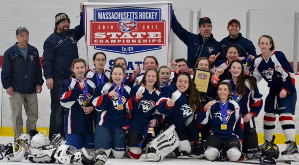 The King Philip Walpole Youth Hockey Girls U14 Red team won the 2016-17 Mass Hockey Tier IV championship
