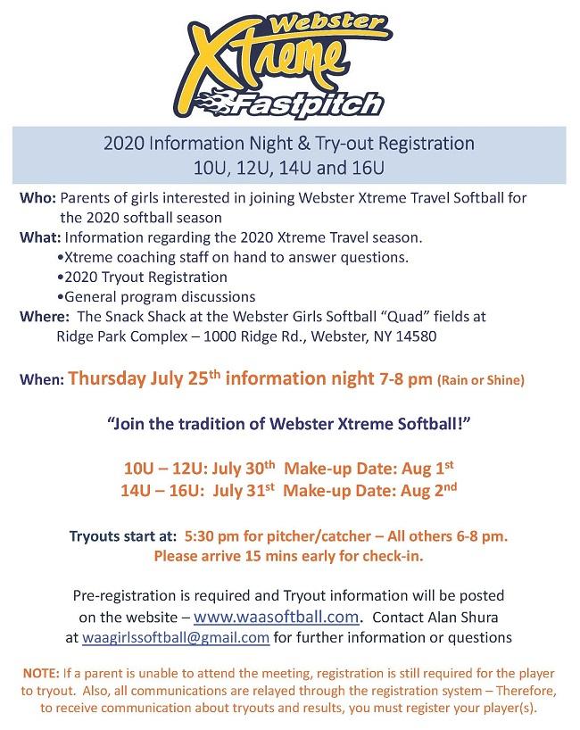 2020 Info Night and Tryouts | WAA Girls Softball