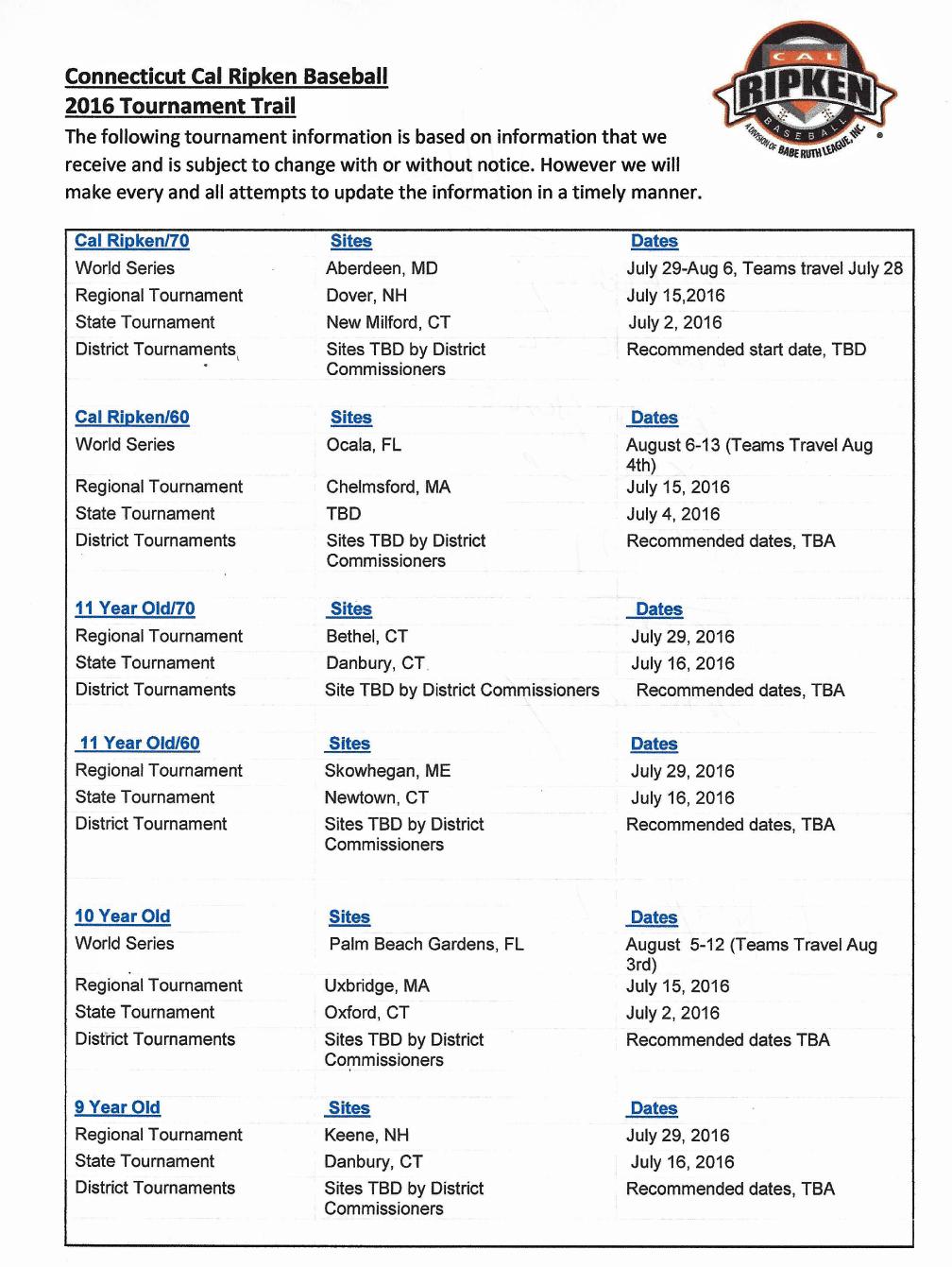 2016 Cal Ripken Tournaments | Newtown Babe Ruth League, Inc