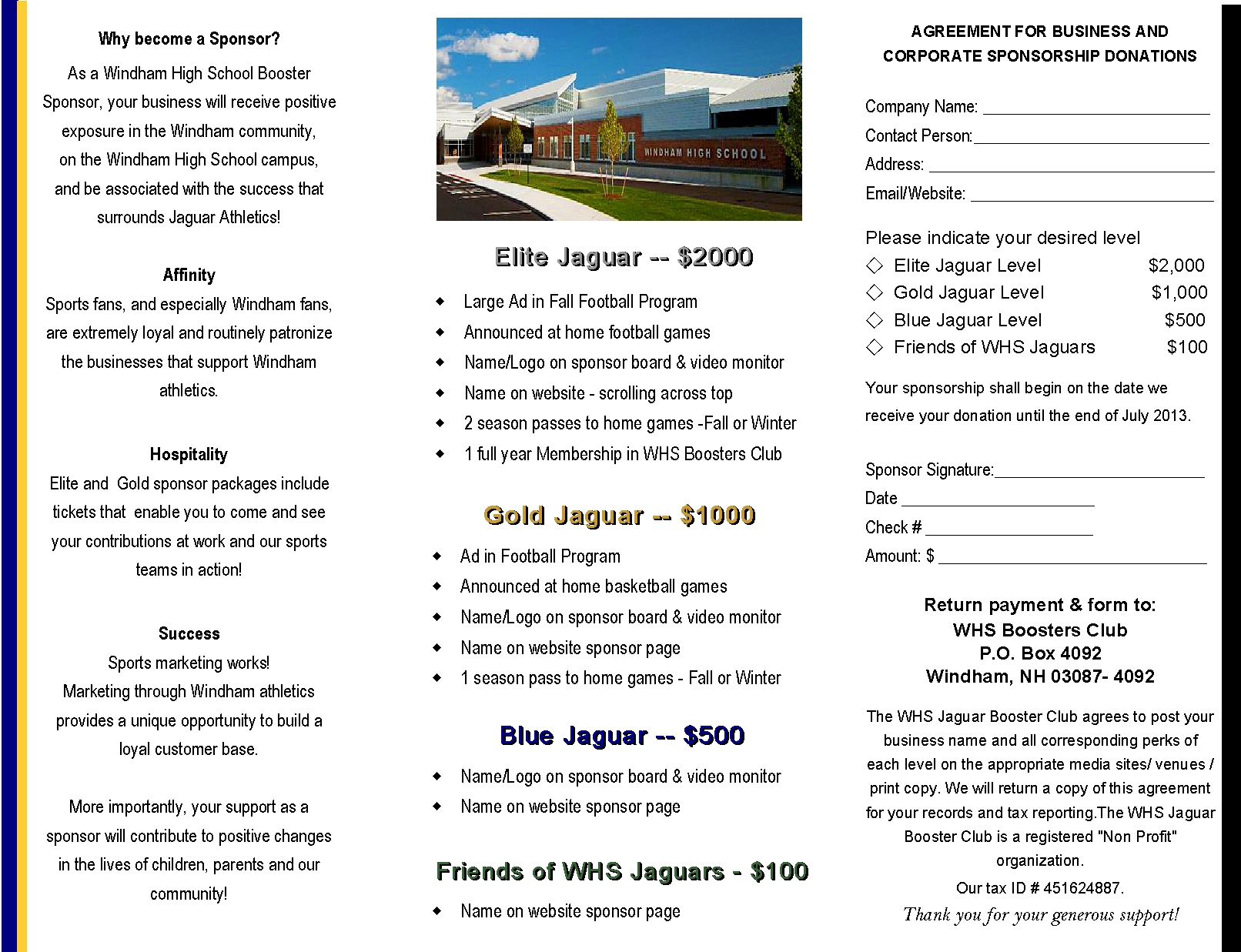 Jaguar sponsorship agreement windham high school jaguars click here to download the agreement altavistaventures Images