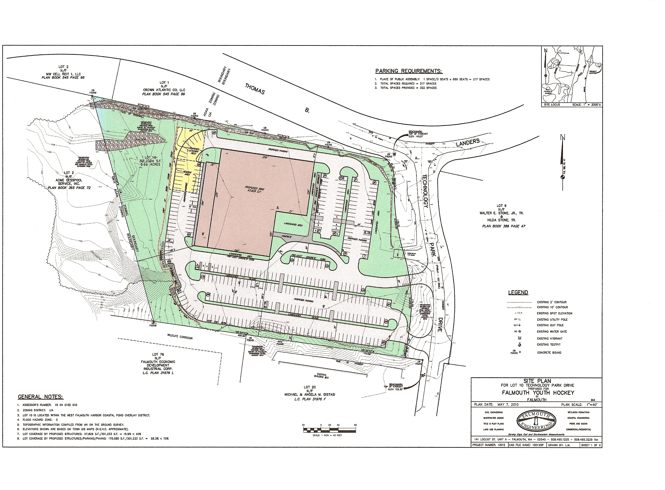Site plan falmouth ice arena for Planner site