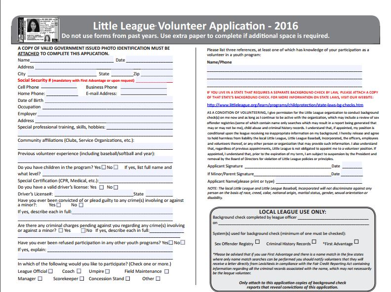 Volunteer Background Checks | Wayland Little League