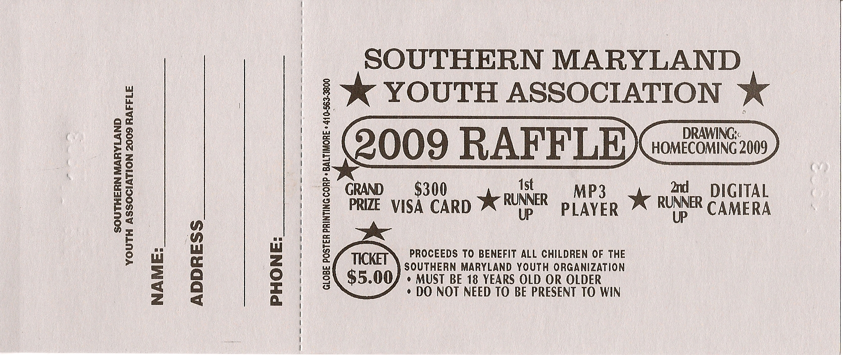Raffle Ticket $5.00 raffle tickets