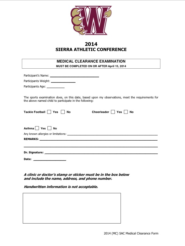 Medical Clearance Form | Whitney Junior Wildcats Football And Cheer