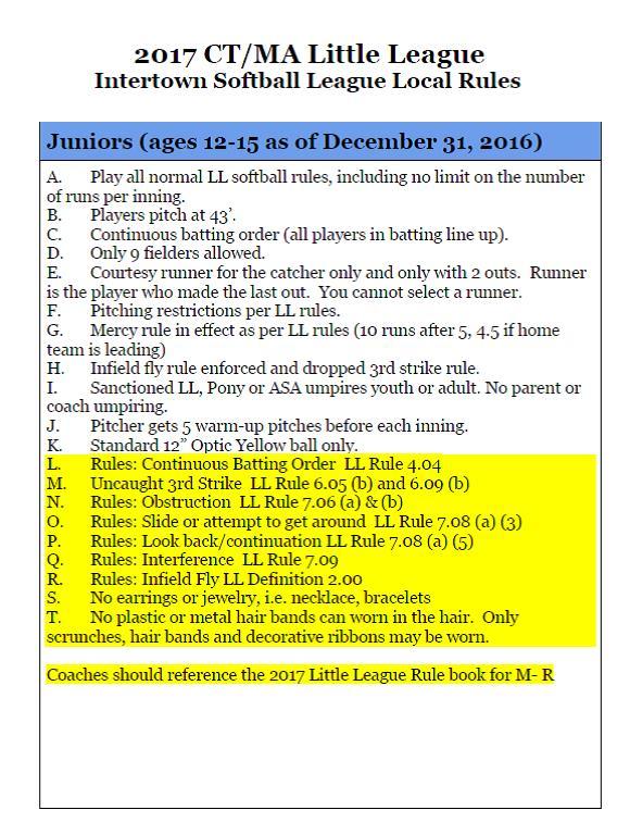 Juniors Softball Intertown Rules | East Granby Little League