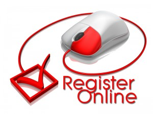 Register Online Picture of a computer mouse with the plug leading to a checkmark