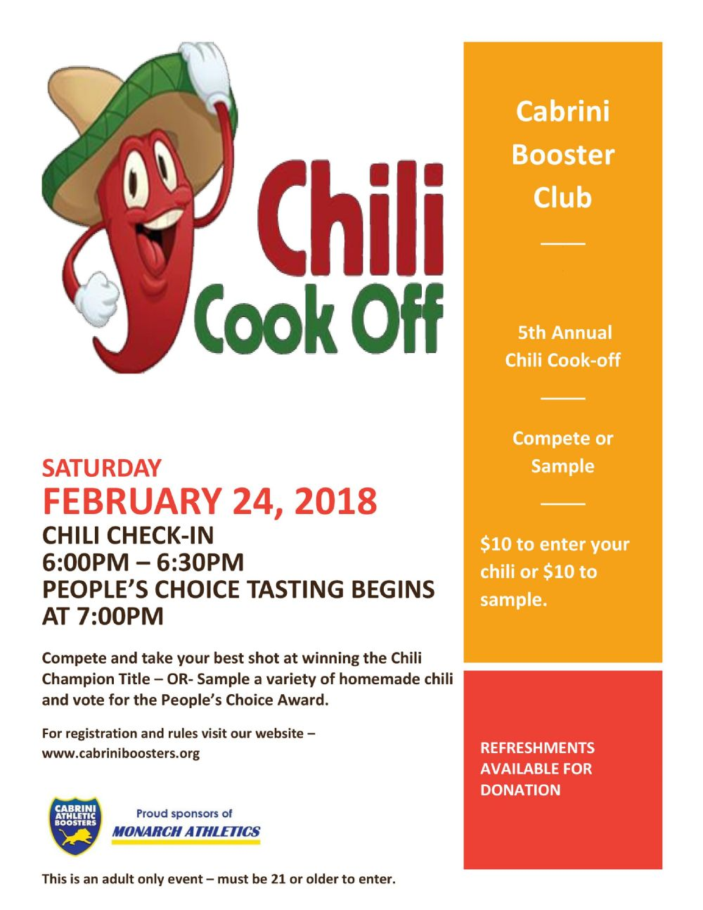 News chili cook off 2018 by cabrini athletic boosters posted 01312018 xflitez Choice Image